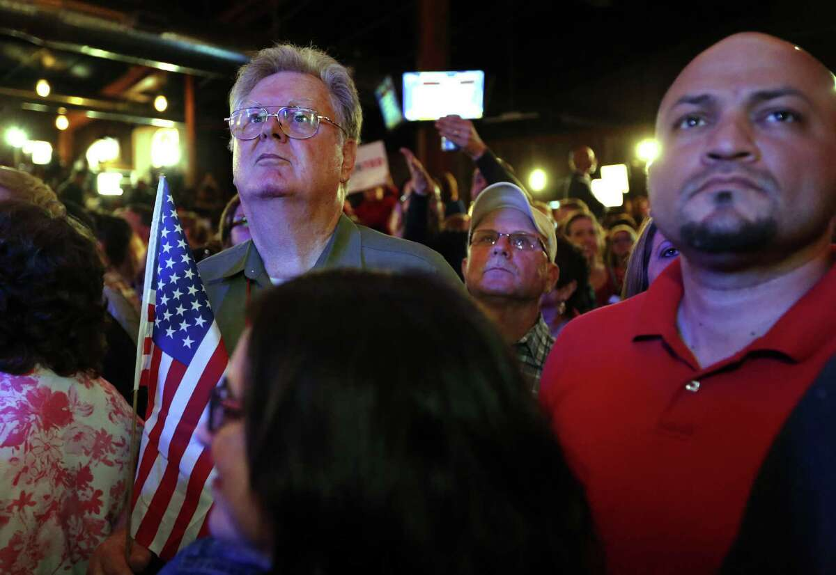 STAFFORD, TX - MARCH 1: Supporters of Republican presidential candidate, Sen. Ted Cruz (R-TX) await returns at a Super Tuesday watch party at the Redneck Country Club March 1, 2016 in Stafford, Texas. Cruz won the primary in Texas, his home state.