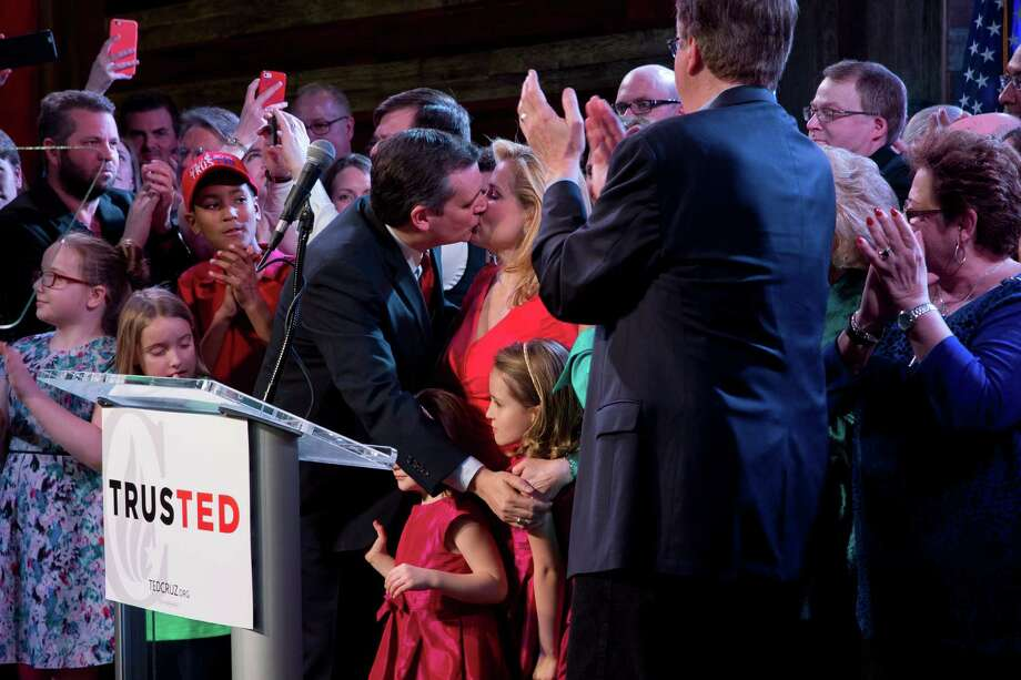 Sen. Ted Cruz of Texas kisses his wife, Heidi Cruz, during his Super Tuesday election night watch party at the Redneck Country Club in Stafford, Texas, March 1, 2016. Cruz won his home state of Texas as well as neighboring Oklahoma. Photo: STEPHEN CROWLEY, New York Times / NYTNS