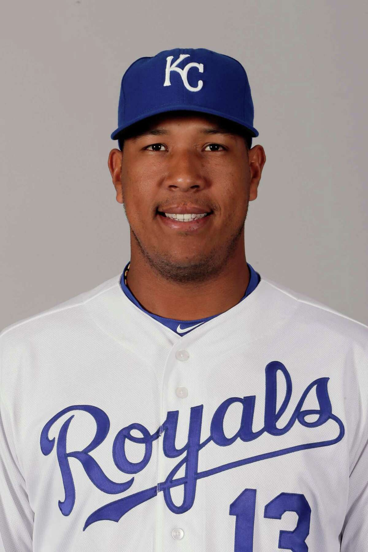 This is a 2016 photo of Salvador Perez of the Kansas City Royals baseball team. This image reflects the Kansas City Royals active roster as of Thursday, Feb. 25, 2016, when this image was taken. (AP Photo/Charlie Riedel)