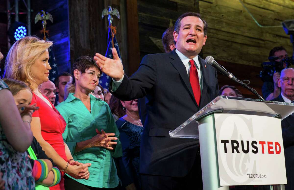 Republican presidential hopeful Sen. Ted Cruz, R-Texas, speaks to his supporters during a Super Tuesday election watch party on Tuesday, March 1, 2016, in Stafford.