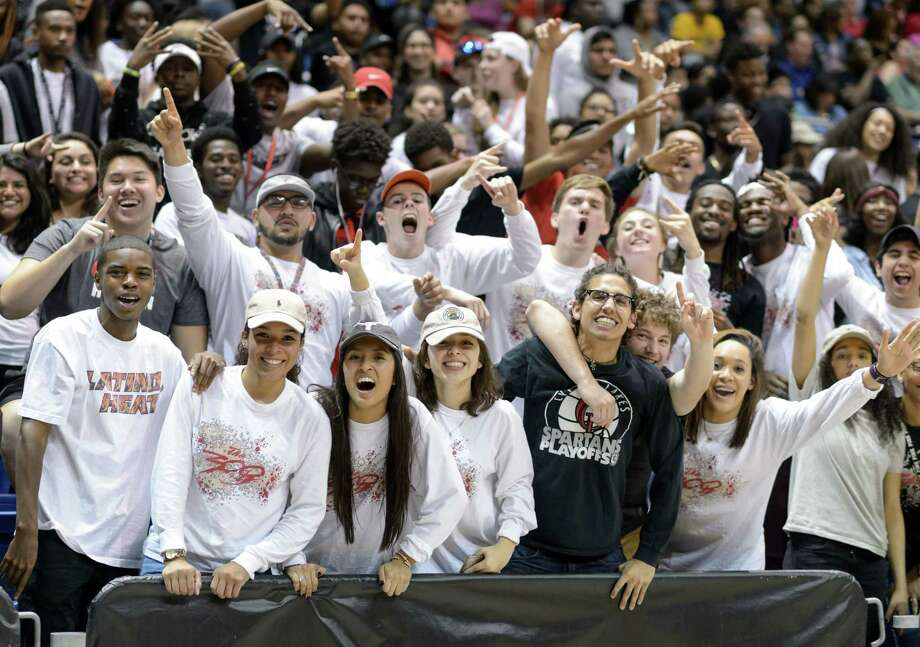 The Cy Lakes Spartan's fans go wild towards the end of the game with their team leading the Davis Falcons in high school basketball's Class 6A Regional Quarterfinals on Tuesday, March 1, 2016 at the Berry Center. Photo: Wilf Thorne, For The Chronicle / © 2016 Houston Chronicle