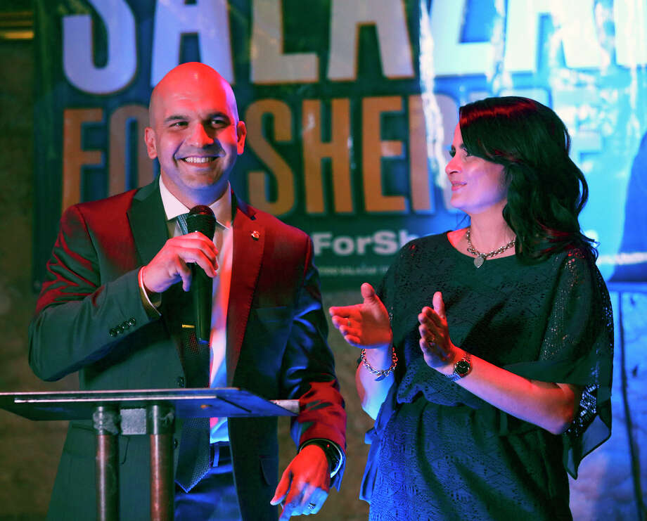 A lead in the early voting is celebrated as Javier Salazar, Democratic candidate for sheriff, holds his election night party at the Cadillac Bar on March 1, 2016.  Sarah Salazar applauds the announcement. Photo: TOM REEL, STAFF / SAN ANTONIO EXPRESS-NEWS / 2016 SAN ANTONIO EXPRESS-NEWS