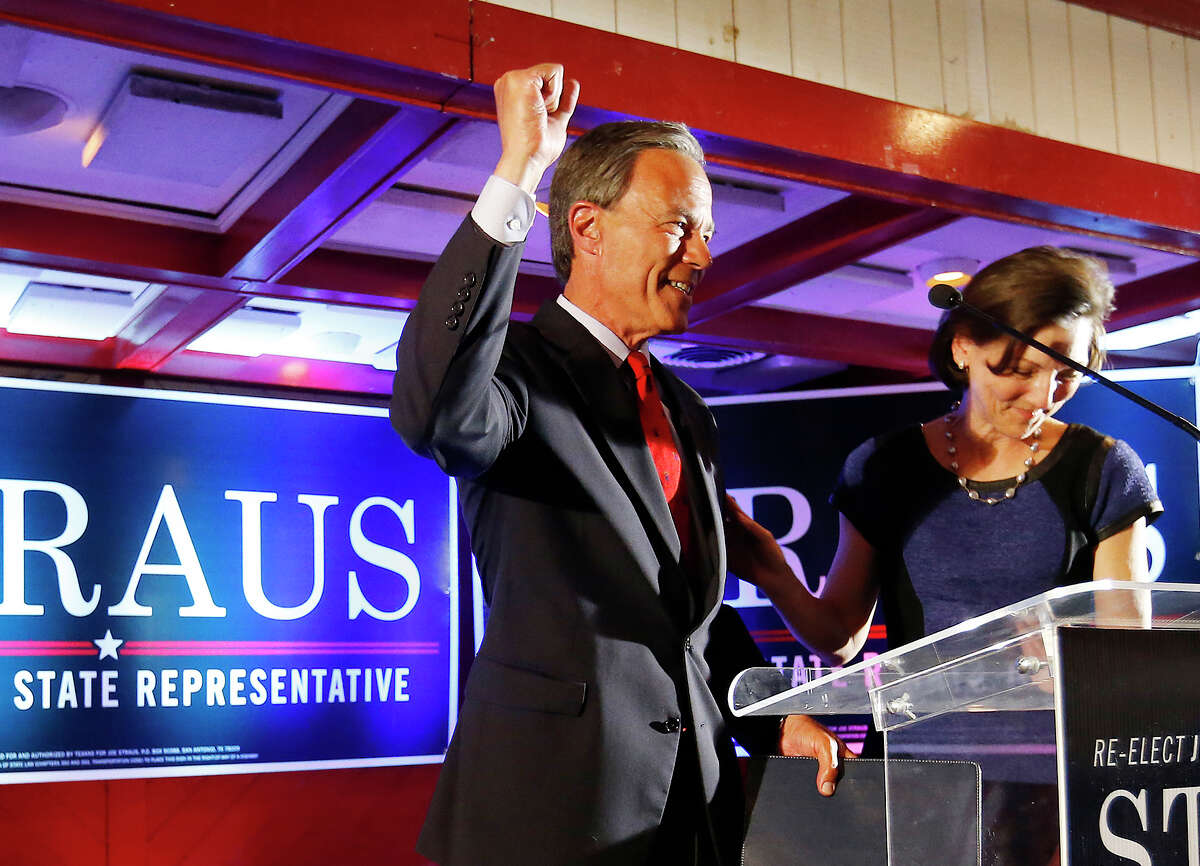 Texas House Speaker and District 121 representative Joe Straus and his wife, Julie, declare victory with supporters at his re-election watch party at the Barn Door Restaurant on Tuesday, Mar. 1, 2016. Straus faced opposition from Jeff Judson and Sheila Bean. (Kin Man Hui/San Antonio Express-News)