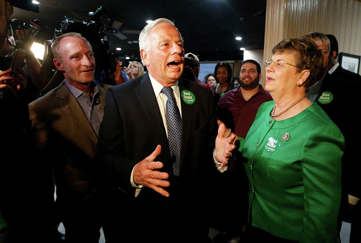 U.S. Rep. Gene Green, center, and his wife, Helen, thank supporters during a watch party Tuesday in Pasadena. Green beat Adrian Garcia in the 29th District Democratic primary.