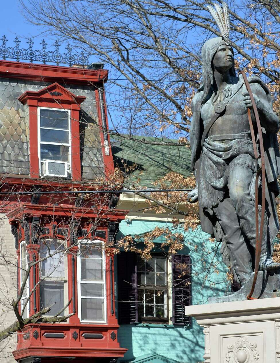 Lawrence the Indian statue and homes along Front Street in the Stockade Thursday Feb. 18, 2016 in Schenectady, NY. (John Carl D'Annibale / Times Union)