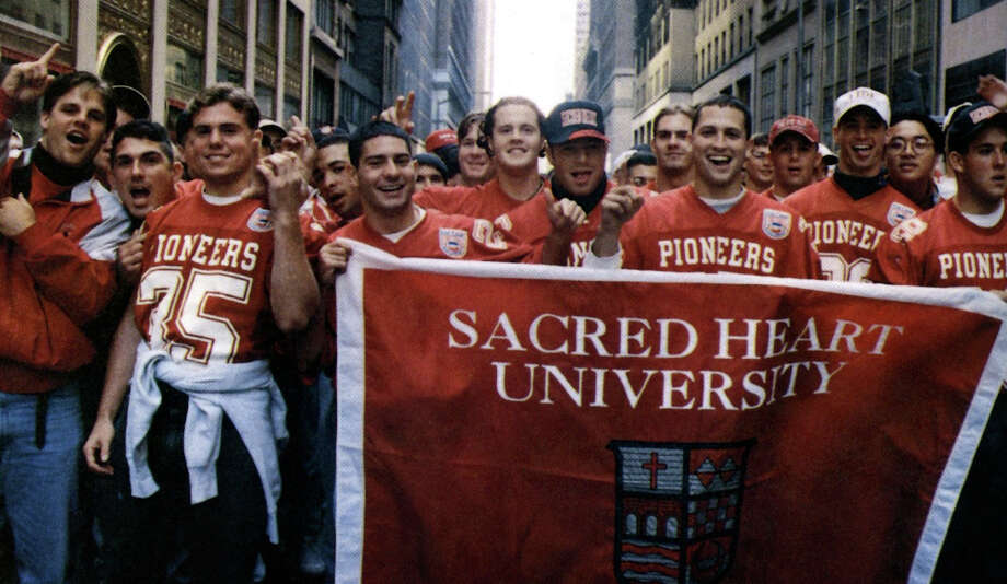 The football team at the 1995 Columbus Day Parade in New York City. Photo: Contributed/SacredHeartUnivPix