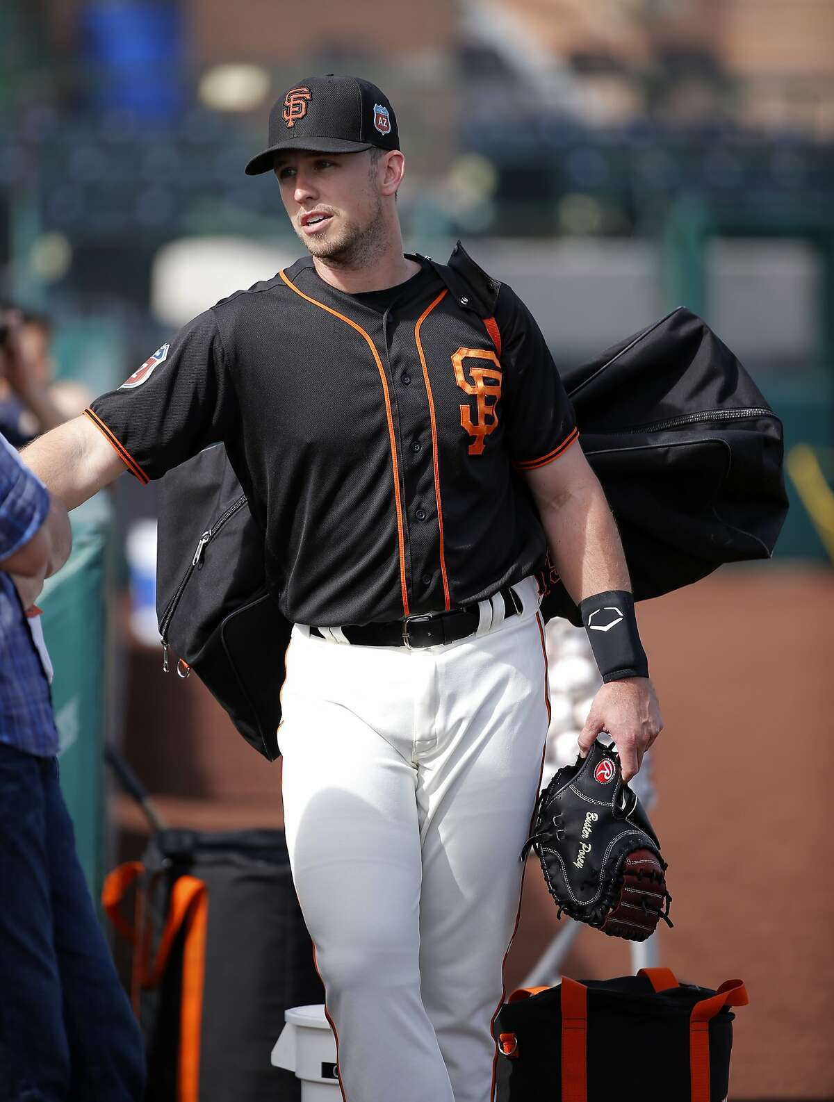 Catcher Buster Posey, 28 during morning workouts as the San Francisco Giants prepare to play the Los Angeles Angels at Scottsdale Stadium on Wed. March 2, 2016, in Scottsdale, Arizona.