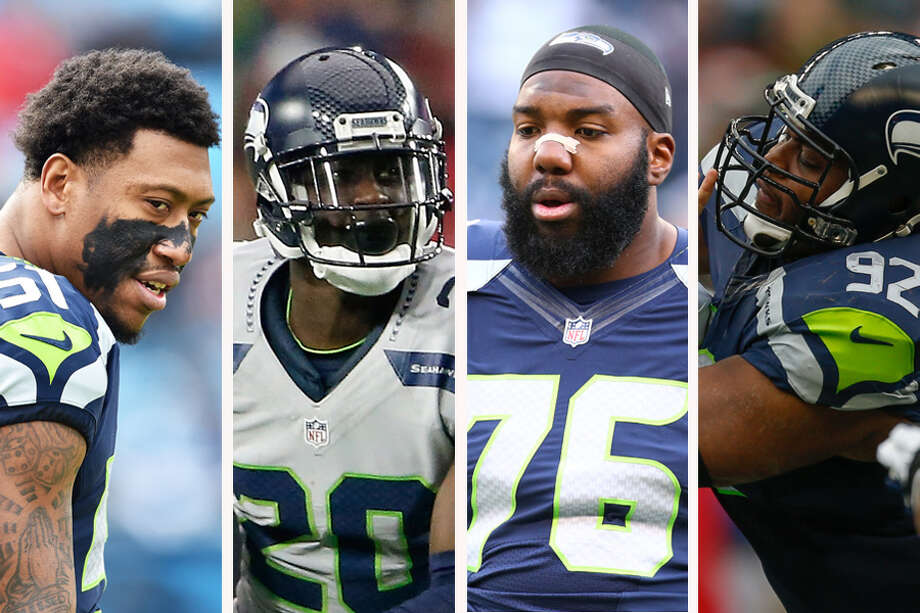 (L to R) Bruce Irvin, Jeremy Lane, Russell Okung and Brandon Mebane are all unrestricted free agents for the Seahawks this offseason. Photo: Getty Images