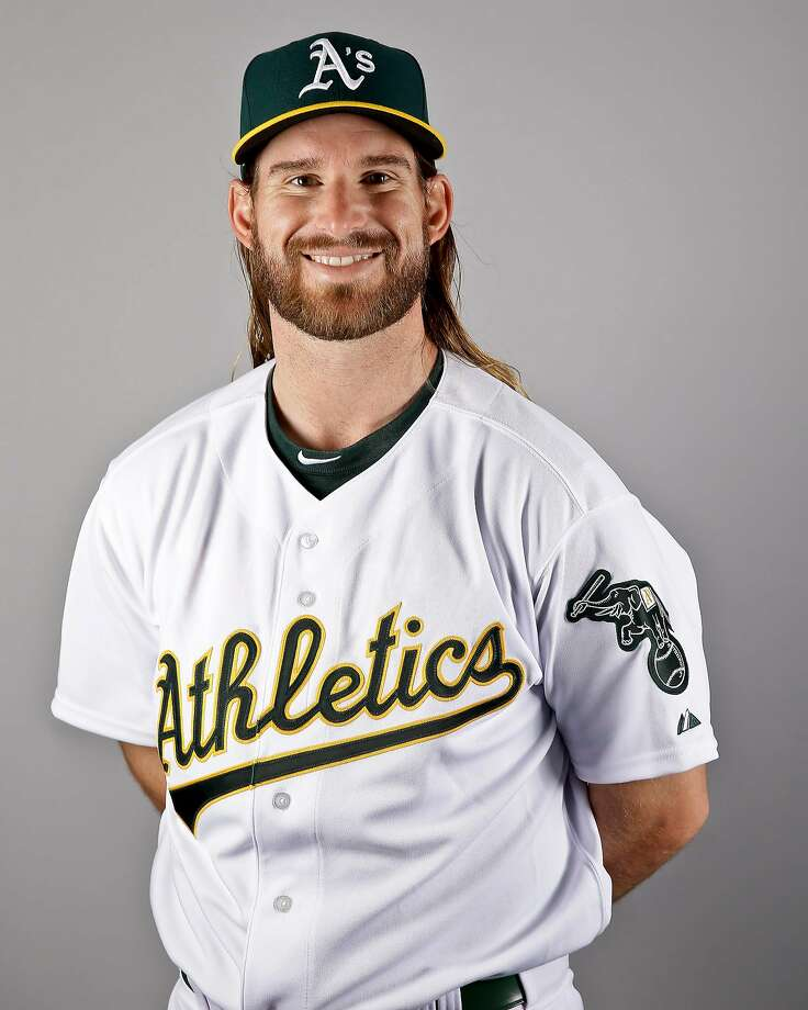 Bryan Anderson of the Oakland Athletics poses for a portrait during the spring training photo day at HoHoKam Stadium on February 29, 2016 in Mesa, Arizona. Photo: Chris Carlson, AP