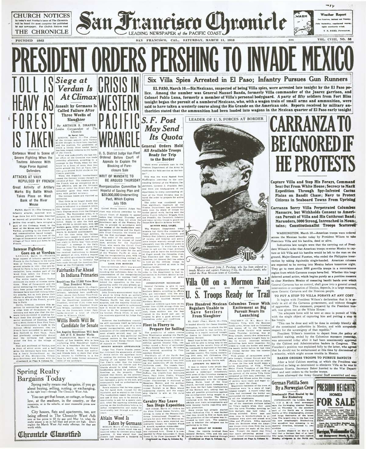 The Chronicle's front page from March 11, 1916, covers the beginning of the Pancho Villa Expedition.