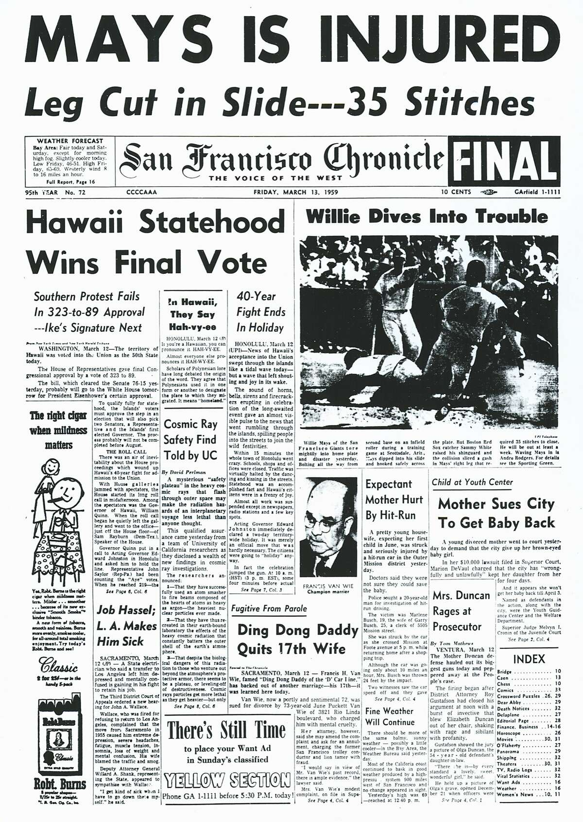 The Chronicle's front page from March 13, 1959, covers Hawaii gaining statehood and Willie Mays getting injured.