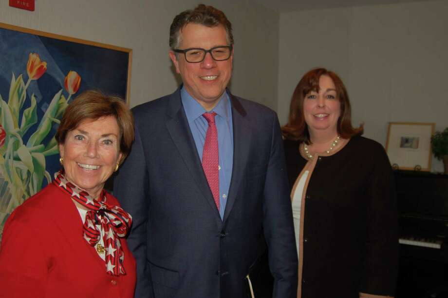 From left State Rep. Livvy Floren, Michael Waldman, president of the Brennan Center for Justice at New York University's School of Law and Karen Hobert Flynn, senior vice president at Common Cause, a non-profit, non-partisan lobbying group focused on open government. All three spoke at a League of Women Voters of Greenwich event discussing the influence of money in politics. Photo: / Ken Borsuk