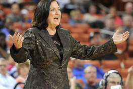 Duncanville head coach Cathy Self-Morgan works the sidelines during the UIL 5A state final against Manvel and Duncanville on March 1, 2014 at the Erwin Center in Austin.