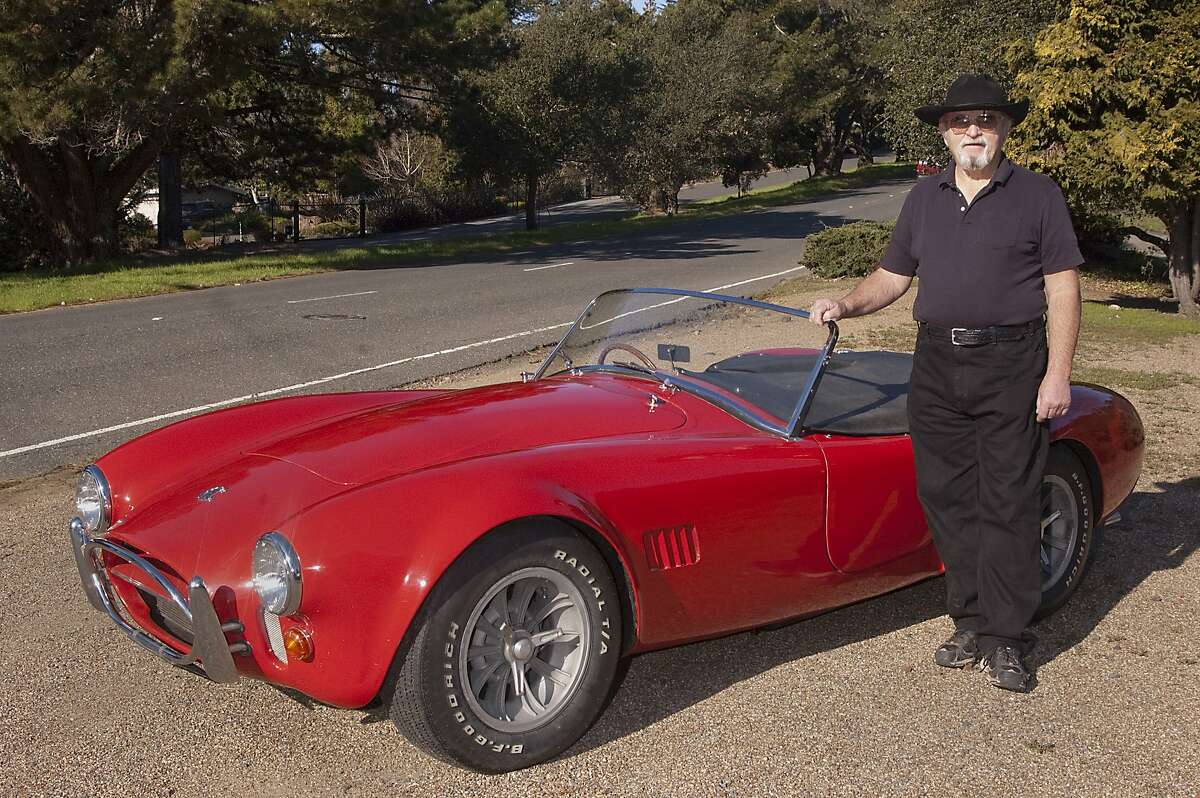 Photos of Gerald F. Scheberies and his 1967 AC Cobra with right hand drive photographed at Skyline Boulevard in Oakland CA on February 5, 2016