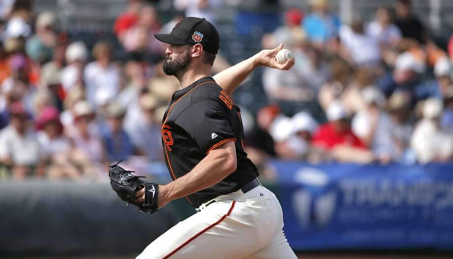Giants' Mike Broadway, 57 throws in the fourth inning as the San Francisco Giants play the Los Angeles Angels at Scottsdale Stadium on Wed. March 2,  2016, in Scottsdale, Arizona. Photo: Michael Macor, The Chronicle