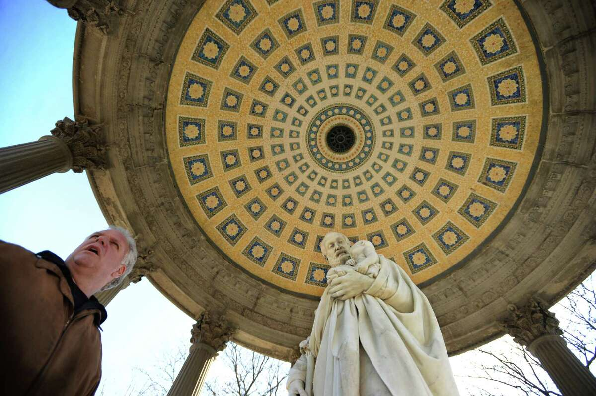 Jim Bria, owner of Artista Studios and Monument Works at 317 Mountain Grove Street in Bridgeport, visits the mosaic glass ceiling that he restored in a mausoleum in nearby Mountain Grove Cemetary in Bridgeport, Conn. on Tuesday, March 1, 2016.
