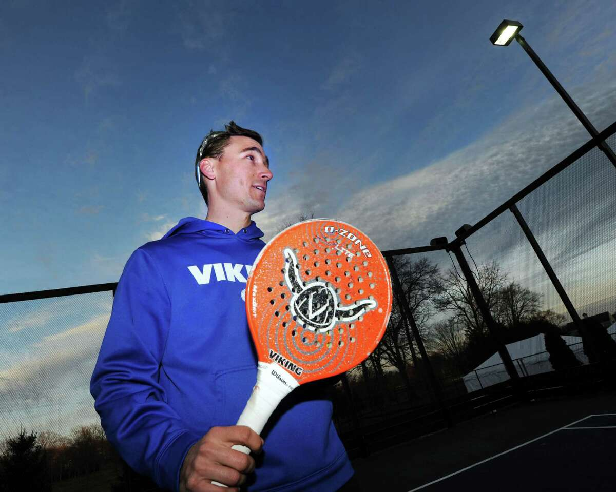 Stamford resident Max Le Pivert on the platform tennis court at the Country Club of Darien, Conn., Tuesday, March 1, 2016. Le Pivert and his partner Juan Martinez-Arraya of Old Greenwich will be taking part in the American Platform Tennis Association National Tournament at the Country Club of Darien this weekend.