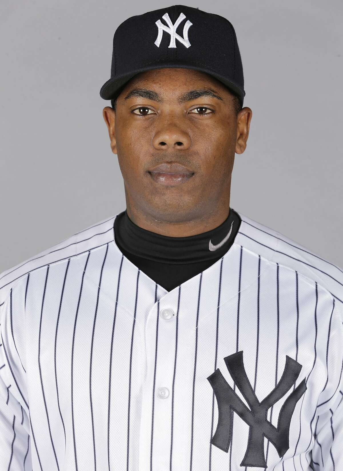 This is a 2016 photo of Aroldis Chapman of the New York Yankees. This image represents the Yankees active roster on Saturday Feb. 27, 2016, in Tampa, Fla.