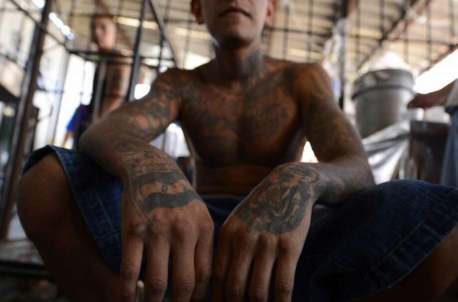 Members of Mara Salvatrucha (MS13), held on Monday, March 4, 2013, in the Criminal Center of Ciudad Barrios, San Miguel, El Salvador. Photo: MARVIN RECINOS, AFP/Getty Images