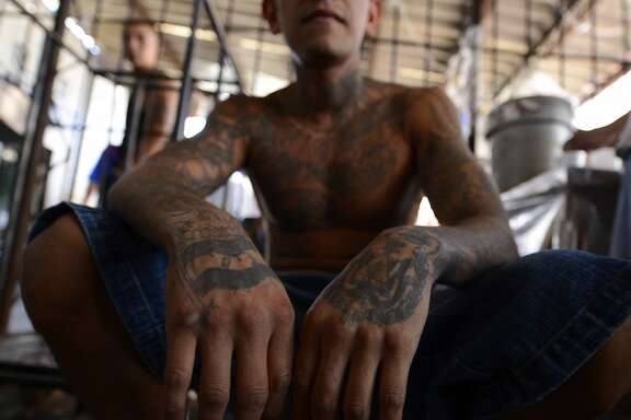 Members of Mara Salvatrucha (MS13), held on Monday, March 4, 2013, in the Criminal Center of Ciudad Barrios, San Miguel, El Salvador.