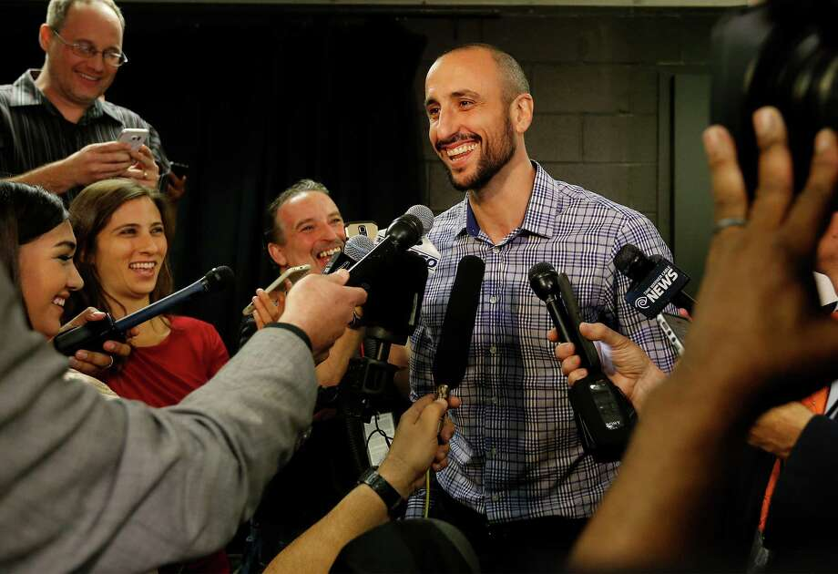 Spurs' Manu Ginobili gives the media an update on his condition and says he's not feeling any pain from the injury and is ready to play before the Spurs game against the Detroit Pistons at the AT&T Center on Wednesday, Mar. 2, 2016. Photo: Kin Man Hui, San Antonio Express-News / ©2016 San Antonio Express-News