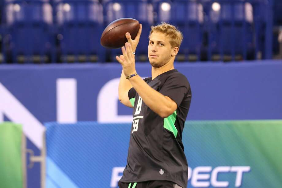 California quarterback Jared Goff performs a drill at the NFL football scouting combine Saturday, Feb. 27, 2016, in Indianapolis. (AP Photo/Gregory Payan) Photo: Gregory Payan, Associated Press