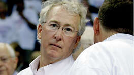 FILE - In this Wednesday, June 6, 2012, file photo, Chesapeake Energy Corp. CEO Aubrey McClendon attends Game 6 of the NBA basketball Western Conference finals, in Oklahoma City. Oklahoma City police say McClendon, a natural gas industry titan who was indicted on Tuesday, March 1, 2016, by a federal grand jury for allegedly conspiring to rig bids to buy oil and natural gas leases in northwest Oklahoma, was killed Wednesday in a fiery single-car crash in Oklahoma City. A part-owner of the NBA's Oklahoma City Thunder, McClendon stepped down in 2013 at Chesapeake and founded American Energy Partners, where he was chairman and CEO. (AP Photo/Sue Ogrocki, File)