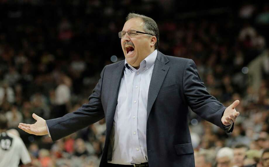Detroit Pistons head coach Stan Van Gundy argues a call during the first half of an NBA basketball game against the San Antonio Spurs, Wednesday, March 2, 2016, in San Antonio. (AP Photo/Eric Gay) Photo: Eric Gay, Associated Press / AP