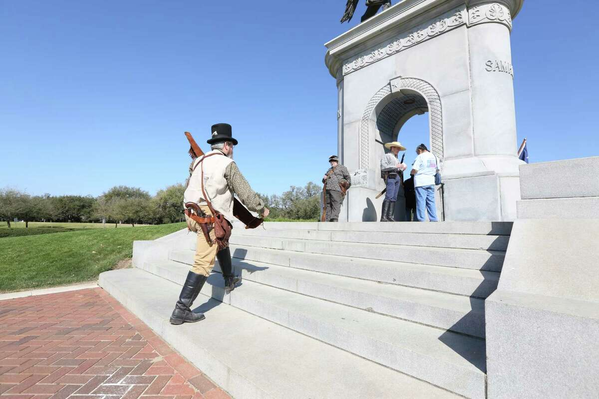 Col. Tom Byrd makes his way to a ceremony honoring Texas Independence Day Wednesday, March 2, 2016, in Houston. The Texas Army, The Sons of the Republic of Texas, The Daughters of the Republic of Texas along with others honored Texas Independence Day at the Sam Houston Statue.