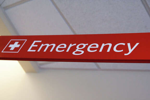 Red Emergency Sign at Hospital
