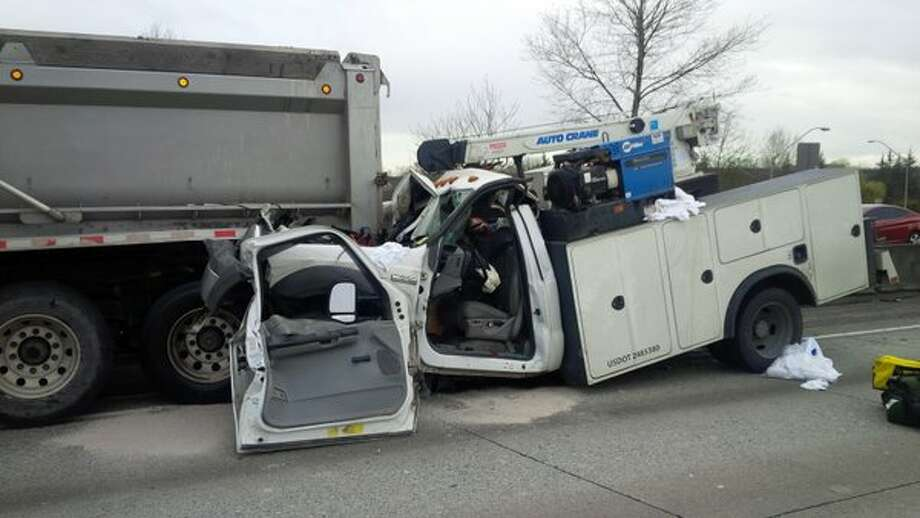 The State Patrol advises drivers to expect lengthy delays at northbound Interstate 405 and state Route 167 in Renton after a dump truck crashed into a pickup truck Thursday morning. Photo: Washington State Patrol
