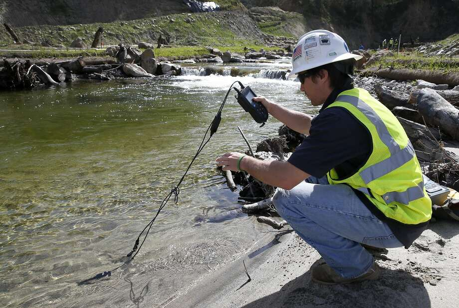 Above: David Hamblin of Granite Construction monitors the water quality of the Carmel River, where the number of steelhead returning to spawn has already increased. Photo: Paul Chinn, The Chronicle