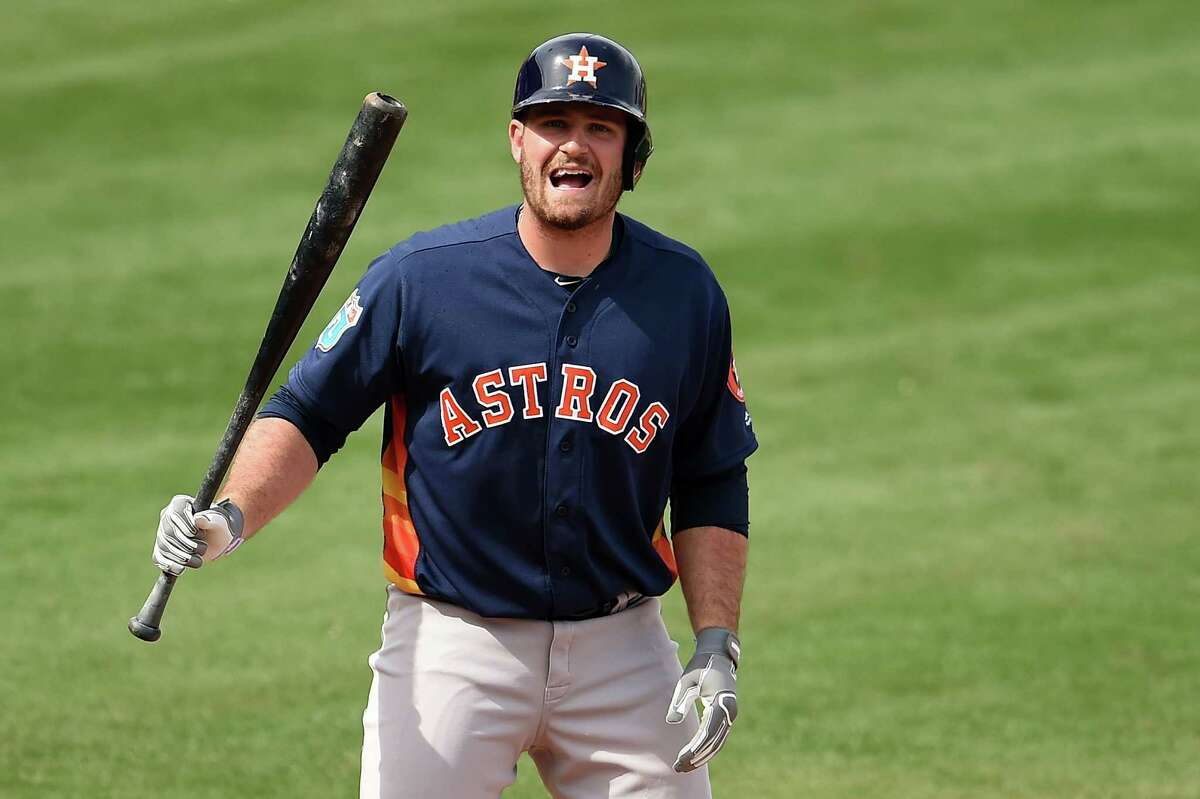 CLEARWATER, FL - MARCH 03: Tyler White #84 of the Houston Astros reacts to a pitch during the fifth inning of a spring training game against the Philadelphia Phillies at Bright House Field on March 3, 2016 in Clearwater, Florida.