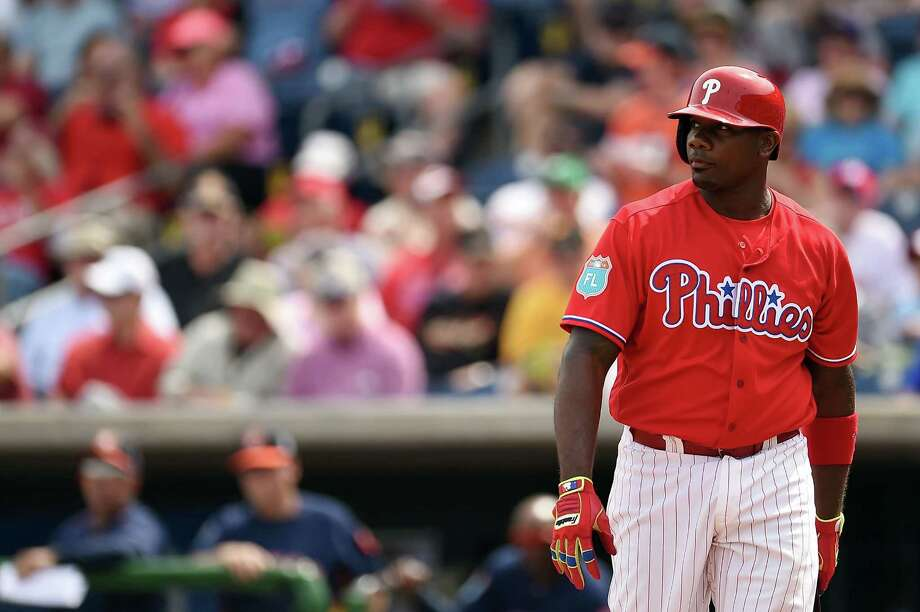 CLEARWATER, FL - MARCH 03:  Ryan Howard #6 of the Philadelphia Phillies reacts to a strike out during the first inning of a spring training game against the Houston Astros at Bright House Field on March 3, 2016 in Clearwater, Florida. Photo: Stacy Revere, Getty Images / 2016 Getty Images