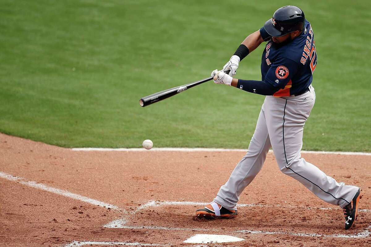 CLEARWATER, FL - MARCH 03: Jon Singleton #21 of the Houston Astros swings at a pitch during the second inning of a spring training game against the Philadelphia Phillies at Bright House Field on March 3, 2016 in Clearwater, Florida.