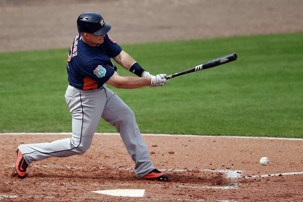CLEARWATER, FL - MARCH 03: Max Stassi #12 of the Houston Astros swings at a pitch during the third inning of a spring training game against the Philadelphia Phillies at Bright House Field on March 3, 2016 in Clearwater, Florida.