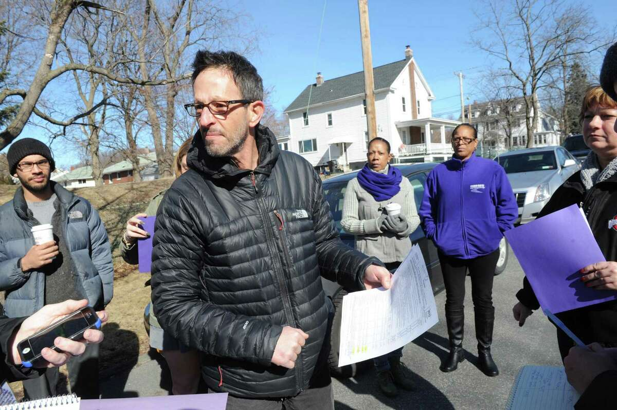 Local Vice President Mark Bergen leads a 1199 SEIU Rally about living wages at Troy hospitals as essential to fighting poverty on Thursday, March 2, 2016, in Troy, N.Y. (Michael P. Farrell/Times Union)