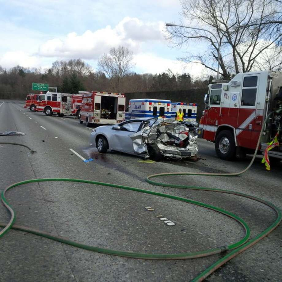 A four-car crash in Tukwila blocked most lanes of northbound Interstate 5 Thursday afternoon. One person is critically injured. Photo: Washington State Patrol