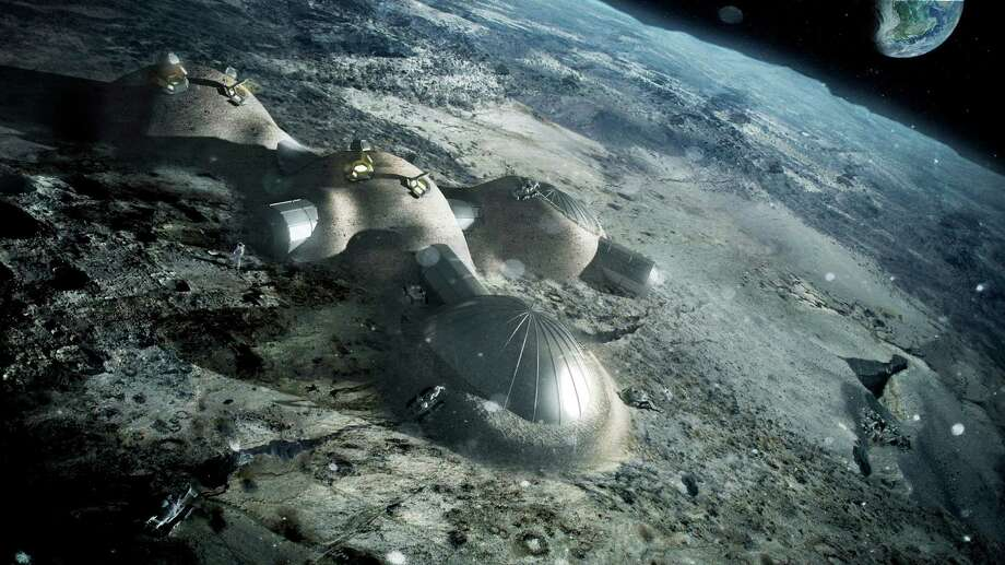ESA caption: Multi-dome lunar base being constructed, based on the 3D printing concept. Once assembled, the inflated domes are covered with a layer of 3D-printed lunar regolith by robots to help protect the occupants against space radiation and micrometeoroids. Photo: ESA