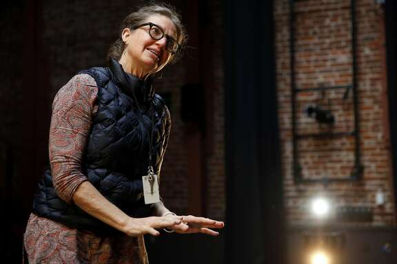 Choreographer KT Nelson provides suggestions during practice at ODC Theater in San Francisco, California, on Thursday, Feb. 25, 2016.