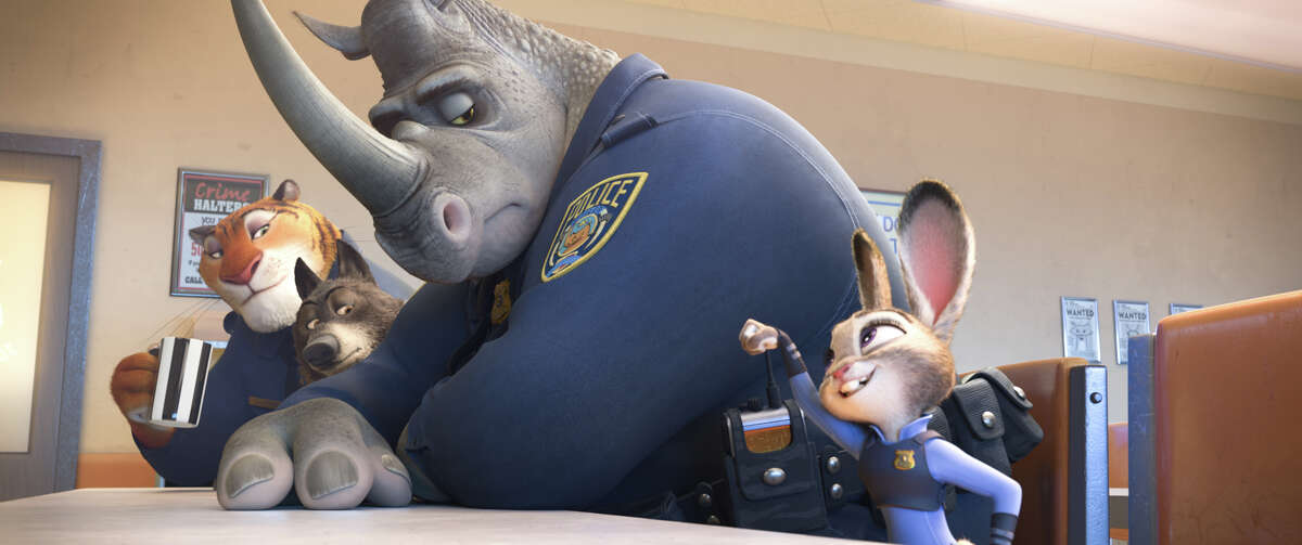 """Judy Hopps (voiced by Ginnifer Goodwin) tries to fit in with her fellow police officers in """"Zootopia."""""""