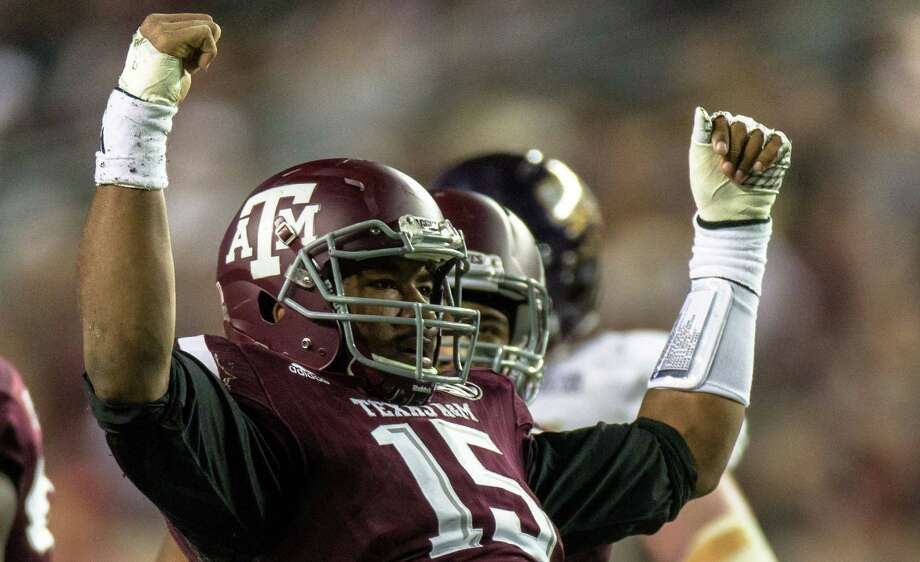 Texas A&M's Myles Garrett reacting on the field during the first half of an NCAA college football game against Western Carolina Saturday, Nov. 14, 2015, in College Station, Texas. Texas A&M defeated Western Carolina 41-17. (AP Photo/Juan DeLeon) Photo: Juan DeLeon, FRE / Associated Press / FR171058 AP