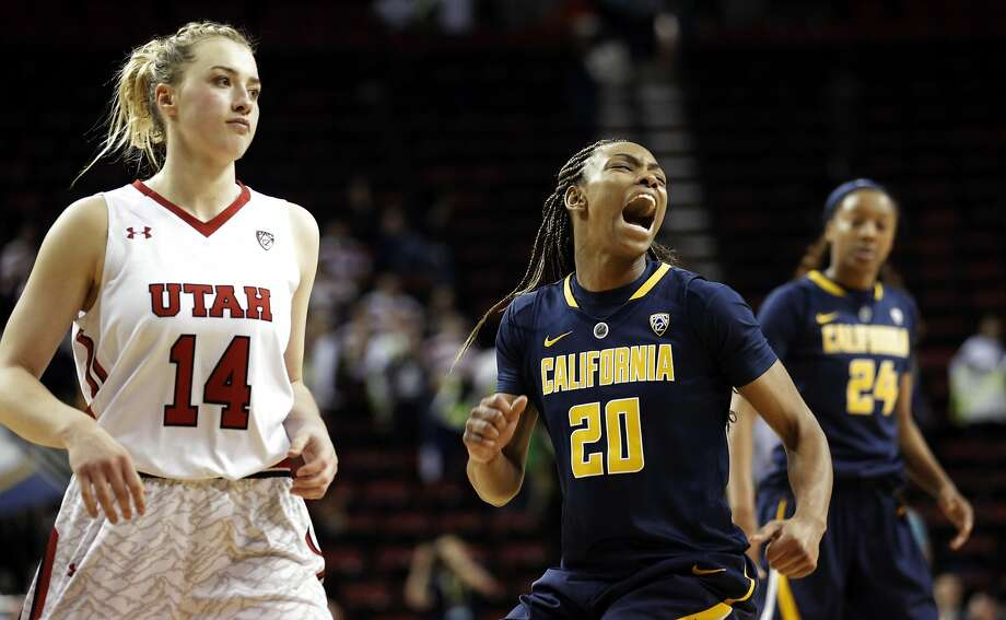 Difference of opinion: Cal's MaAne Mosley, middle, lets out a scream in celebration after Utah's Paige Crozon, left, missed what would have been a game-tying three at the end of overtime. Photo: Ted S. Warren, AP