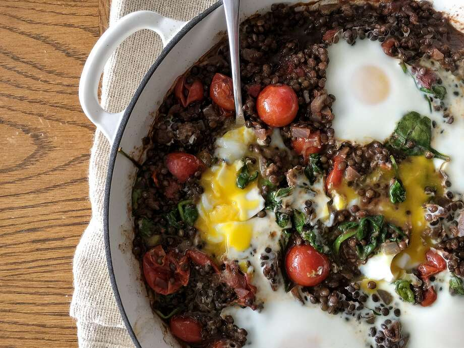 Baked Eggs With Lentils & Tomatoes Photo: Amanda Gold