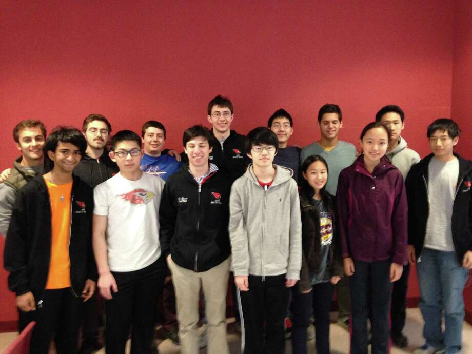 The Greenwich High School math team gathers after winning the Fairfield County Math League title Wednesday, March 2.  Front row, from left: Amit Ramachandran, Jason Shi, captain Robby Blank, Steven Ma, Catherine Yang, Jovita Li and William Yin Back row, from left: Romano Orlando, Christopher Popham, Daniel Kramer, captain Michael Kural, Henry Shi, Mateo Leon and Nicholas Lin Photo: Contributed Photo