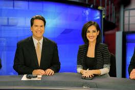 KSAT's top-ranked 10 p.m. news team, Greg Simmons (from left), Steve Spriester, Isis Romero and Steve Browne.