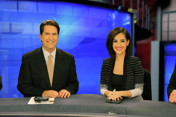 KSAT's top-ranked 10 p.m. news team, Greg Simmons (from left), Steve Spriester, Isis Romero and Steve Browne.