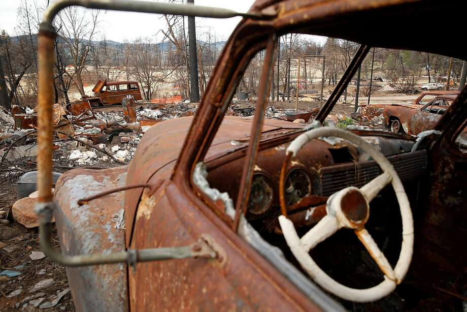 Burned-out vehicles remain on a lot on Humboldt Drive in the aftermath of the Valley Fire in Cobb on March 2, 2016. Photo: Scott Strazzante, The Chronicle
