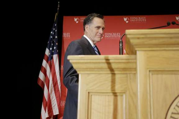 Former Republican presidential candidate Mitt Romney takes to stage before weighing in on the Republican presidential race during a speech at the University of Utah, Thursday, March 3, 2016, in Salt Lake City. The 2012 GOP presidential nominee has been critical of front-runner Donald Trump on Twitter in recent weeks and has yet to endorse any of the candidates. (AP Photo/Rick Bowmer)