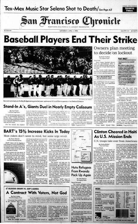 The Chronicle's front page from April 1, 1995, covers the end of a 232-day strike by Major League Baseball players.